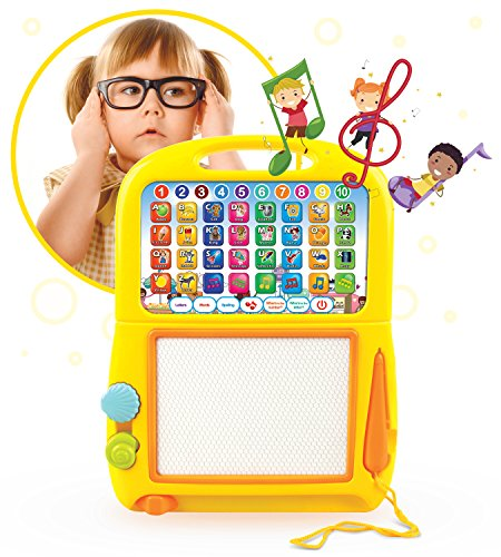 Boxiki kids Learning Tablet + Magnetic Drawing Pad Toddler Musical Toy w/ Kids Learning Games. Educational Toy for Child Development. Learn Numbers, ABC Learning, Spelling Games, Musical Tunes