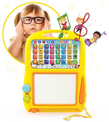 Boxiki Kids Englisch Lern-Tablet & Magnetisches Mal-Pad. Lernspielzeug für die Kindesentwicklung. Zum Lernen von Nummern, dem ABC, Buchstabierspielen, Liedern