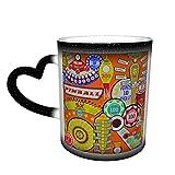 Oaieltj Tazas cambiantes de calor divertido de dibujos animados Pinball naranja personalizado sensible al calor cambiante mágico taza de café de cerámica taza de té de leche