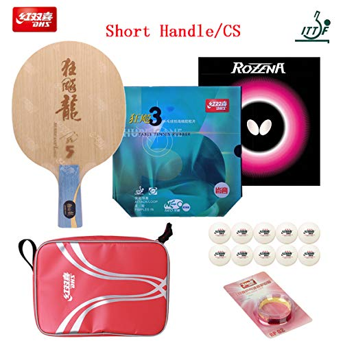 Save %13 Now! DHS Hand-Assembled, Hurricane Long 5 Ping Pong Racket Blade, Neo Blue-Sponge Hurricane...