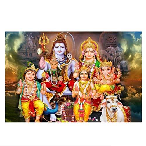 PDFKE Shiva Parvati Ganesha, Arte Indio, Figura de Dios hindú, Lienzo, Pintura, póster religioso, impresión, Cuadro de Pared, decoración, 24x36 Pulgadas, sin Marco, 1 Uds.