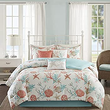 Madison Park Cotton Comforter Set-Coastal Coral Starfish Design All Season Down Alternative Cozy Bedding with Matching Shams Decorative Pillow Queen 90 x90   Pebble Beach Teal 7 Piece