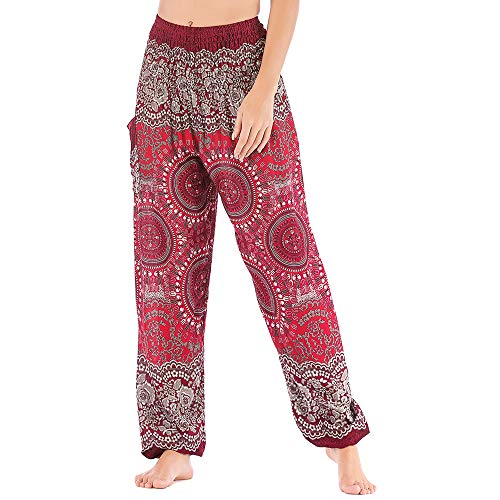 Nuofengkudu Mujer Hippie Algodón Tailandeses Pantalon Harem Cintura Alta Boho Vintage Patrones Indio Baggy Fisherman Yoga Pants Pijama Verano Playa(Rojo Brújula,Talla única)
