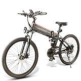 LO26 Bicicleta de montaña eléctrica, Bicicleta eléctrica Plegable para Adultos 26 Pulgadas 10.4Ah 500W 48V con Shimano 21 velocidades Bicicleta ciclomotor para Hombres Mujeres (Negro)