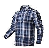 Camisas para Hombre Camisa A Cuadros Masculina Primavera Hombres Mujeres Ropa Exterior Top XL Azul