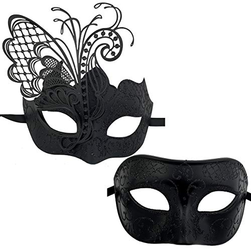 Xvevina Couples Pair Goth Venetian Masquerade Masks Set Party Costume Masks (Black)