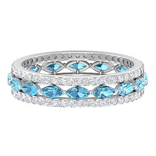 Rosec Jewels 10 quilates oro blanco marquesa round-brilliant-shape H-I Diamond Aquamarine