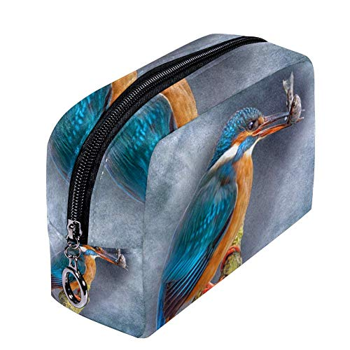 Kingfisher Birds Beak Fish Cosmetic Bag Travel Makeup Bag for Women Girls Zippered Pencil Case Pen Pouch Storage Holder Box Stationery for Office School