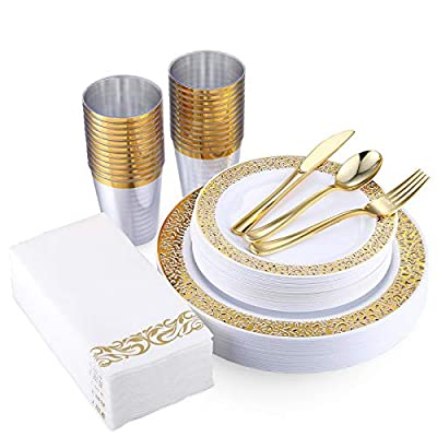 175 Piece Gold Dinnerware Set 25 Guest-50 Gold Lace Plastic Plates-25 Gold Plastic Silverware-25 Gold Plastic Cups-25 Linen Like Gold Paper Napkins, FOCUS LINE Disposable Dinnerware Set