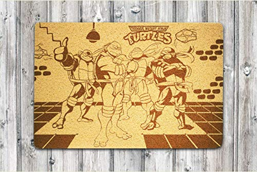 StarlingShop Felpudo de bienvenida con las Tortugas Ninja, felpudo de bienvenida, felpudo de indooor, respetuoso con el medio ambiente, decoración al aire libre, regalo de cumpleaños