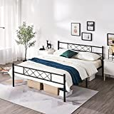 Yaheetech Queen Size Metal Platform Bed Frame Mattress Foundation with Headboard and Footboard No Box Spring Needed Under Bed Storage Steel Slats Black