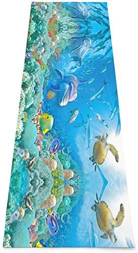 Toalla De Yoga Antideslizante,Mundo Submarino Colchoneta Ecológica Para Ejercicios De Fitness Para Entrenamiento Y Hogar,Colchoneta De Gimnasia,Ejercicios De Suelo Y Colchoneta De Fitness Pilate Par