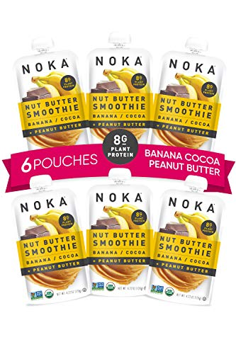 NOKA Nut Butter Smoothie Pouches (Banana Cocoa Peanut Butter) 6 Pack