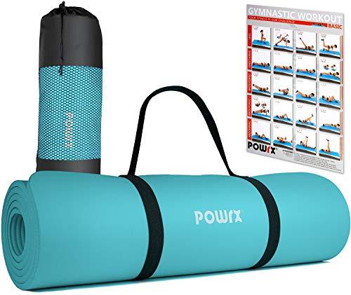 POWRX Gymnastikmatte Yogamatte inkl. Übungsposter I Trainingsmatte...