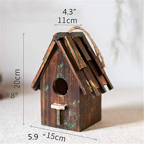 Oiseaux Nids for Cages Rétro Steeple Décoration Hanging créatif en plein air oiseaux Maison bois en plein air Birdhouse Country Style Cottages Bird House for les petites oiseaux Cabin Birdhouse