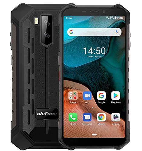 "Ulefone Armor X5【2020】, Android 10 4G Móvil Antigolpes, MTK6762 Octa-Core 3GB RAM 32GB ROM, 5.5 ""IP68 Impermeable Moviles Todoterreno, Dual SIM, 5000mAh Batería, Desbloqueo Facial NFC GPS Negro"