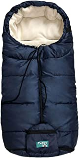 Universal Cozy Fleece Stroller Footmuff, Winter Outdoor Tour Waterproof Baby Sleeping Bag, Anti-Slip, Adaptable for Almost Stroller, Pram, Navy