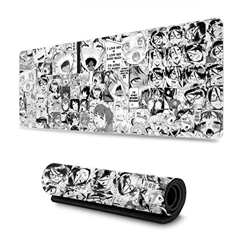 Ahegao Manga Orgasm Faces Desk Mat, Extended Gaming Mouse Mat, Large Non-Slip Rubber Base Mousepad with Stitched Edges, Waterproof Keyboard Mouse Mat Desk Pad 31.5x11.8Inch(80x30 cm)