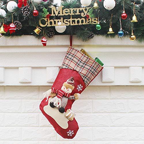 Adornos de Navidad y decoraciones de Año Nuevo, calcetines de Papá Noel, muñeco de nieve, 2 muñeco de nieve., 22.5*46*26.5cm