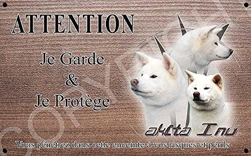 Pets-Easy.com Attention Chien de Garde personnalisée Akita inu Blanc - pré percée et vis proposées. De 30 cm à 15 cm…
