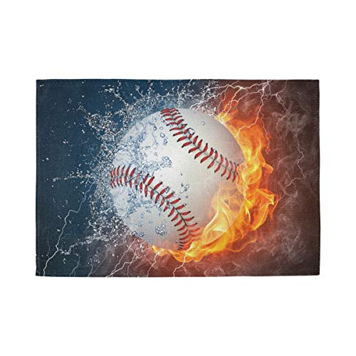 ATONO Baseball in Fire and Water Placemat Kitchen Table Lunching Plate Mats Double-Sided Use [6 PCS 12X18 Inch] Non-Slip Washable Dining Insulation Pads