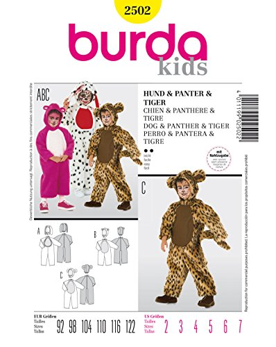 Burda 2502 Schnittmuster Kostüm Karneval Fasching Hund Panter Tiger (Kids, Gr. 92-122) – Level 2 leicht