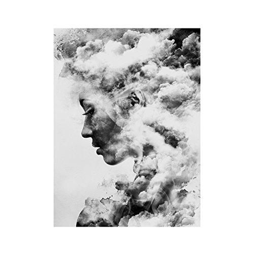 bdrsjdsb Moderne Smoky Girl Portrait Leinwand Kunst Poster Malerei Wandbild Home Decor Geschenk 40 * 50 cm