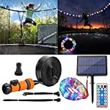 APCHY Trampoline Sprinkler with Led Lights 1 Roll 65.6Ft 200 LEDs Solar String Lights for 10 Ft 12Ft Trampoline Accessories Sprinkler 39.3Ft Long for Water Play, Games, and Summer Fun in Yards