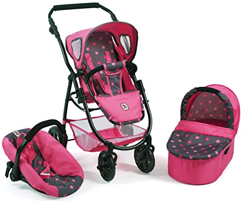 Bayer Chic 2000 637 82 Kombi-Puppenwagen Emotion 3 in 1 All In, Sternchen pink