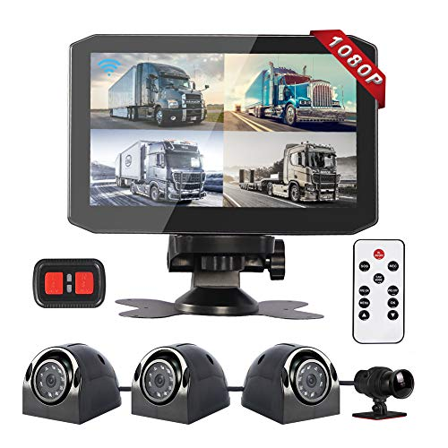 VSYSTO 4CH Dash Cam Record Camera Recording DVR Backup Front & Sides & Rear 1080P for Semi Trailer Truck Van Tractor with WiFi Infrared Night Vision Lens, 7.0'' Monitor(Support GPS)