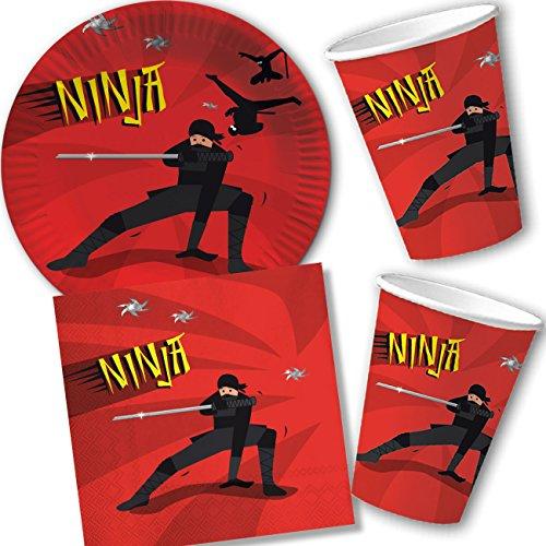 37-teiliges Partyset * Ninja * mit Teller + Becher + Servietten + Deko // von DH-Konzept // Kindergeburtstag Kinder Geburtstag Party Mottoparty Luftballons