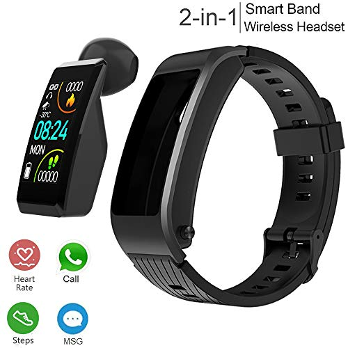 Fitness Tracker with Headphone, 2 in 1 Smart Band + Bluetooth Earbud,Smart Bracelet with Heart Rate Blood Pressure Blood Oxygen Sleep Monitor,Smartwatch Band w/Wireless Earphone,Step Calorie Counter