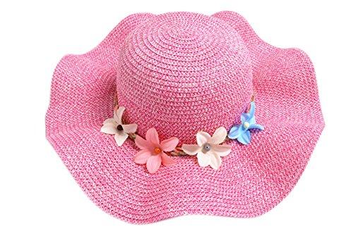 Demarkt Strohhut Sonnenhut Sommerhut Strandhut für Baby Mädchen Kappenumfang von etwa 50-52cm Rose Rot