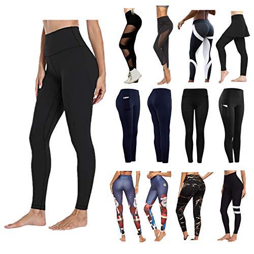 HUYURI Damen Sports Leggings Sexy Mesh Sportleggins Slim Fit Hohe Taille Lange mit Bauchkontrolle Sport Blickdicht Yogahose Fitnesshose Laufhose Tights für zum Laufen, Radfahren, Fitness