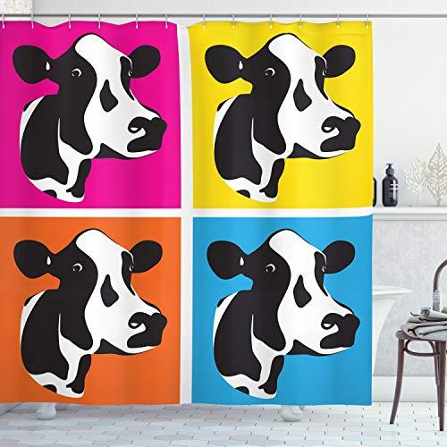 ABAKUHAUS Das Vieh Duschvorhang, Pop Art Kuh Köpfe Bild, mit 12 Ringe Set Wasserdicht Stielvoll Modern Farbfest & Schimmel Resistent, 175x180 cm, Mehrfarbig