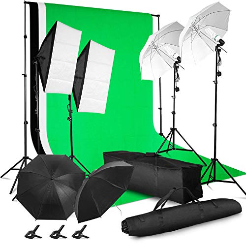 MVPOWER Profi Studio Greenscreen Set mit Softbox, Reflektor, Hintergrundsystem