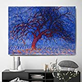 baodanla Pintura al óleo sin Marco Árbol Starry Night Artwork Impresiones en Lienzo Modern Ng Posters Wall Art Pictures For Living Room Deco60x90cm