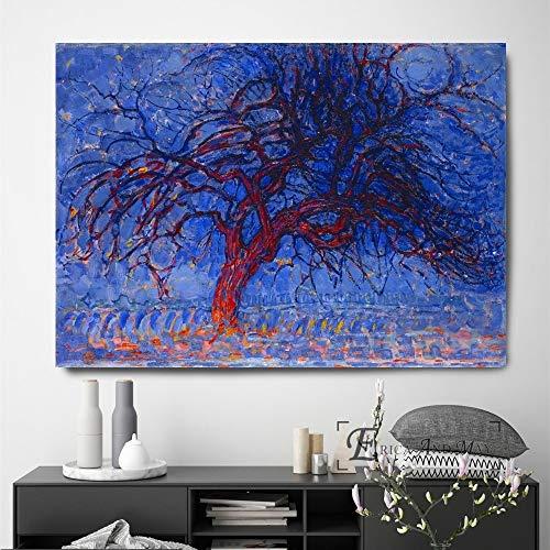 Pintura al óleo sin Marco Árbol Starry Night Artwork Impresiones en Lienzo Modern Ng Posters Wall Art Pictures For Living Room Deco60x90cm