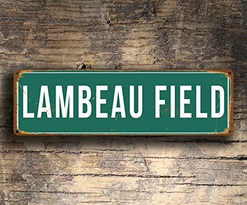 CELYCASY Lambeau Field Schild Vintage Stil Lambeau Field Stadion Schild Lambeau Field Green Bay Packers Schild Fußball Geschenke Packers Schild