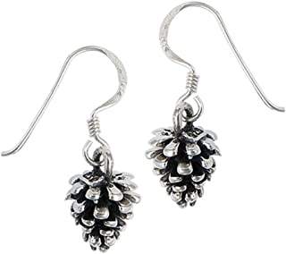 pine cone earrings silver