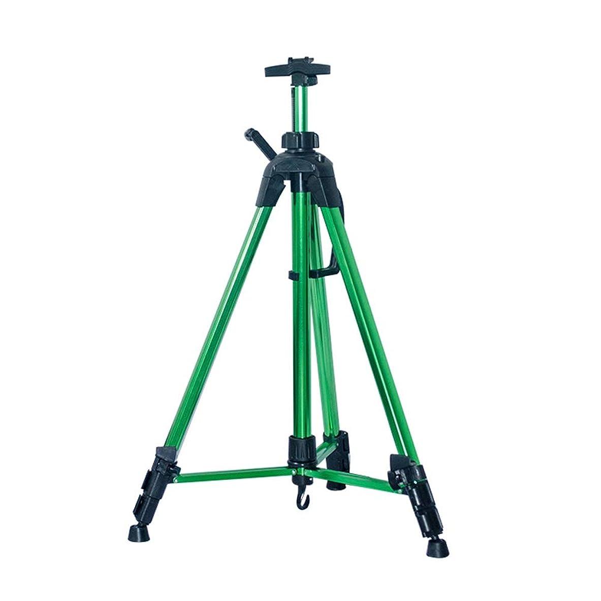 アラート余裕がある脆いイーゼル イーゼルハンドクランクアルミ合金ディスプレイイーゼル格納式折りたたみ油絵広告表示三角形ブラケット (Color : Green)