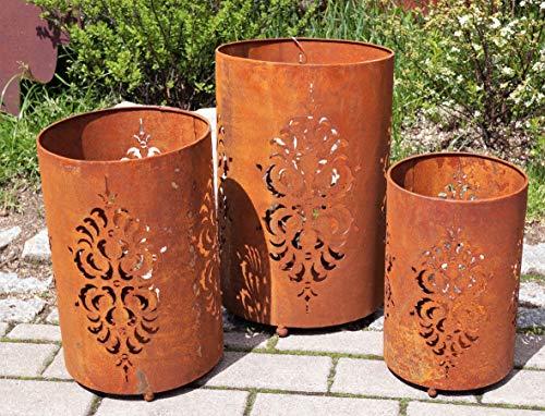 Rostalgie Edelrost Windlicht filigran in 3 Größen Garten Dekoration Laterne Tischdeko (Metall, groß 40x26cm)
