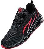 LARNMERN PLUS Zapatos de Seguridad Hombre Zapatillas Trabajo Antideslizante Anti-aplastamiento Respirable Ligero Zapatillas de Cabeza de Acero(44EU,Negro Rojo)