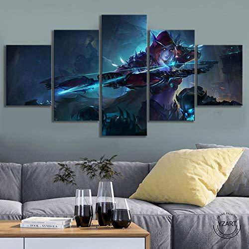 VENDISART,Leinwanddrucke,Modulare Wandkunst Wandaufkleber,5 Teiliges Wandbild,Sylvanas Windrunner World of Warcraft-Videospiele,Mit Rahmen,Größe:M/B=150Cm,H=80Cm