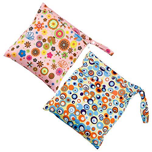 Wandefol Set van 2 Baby luiers luiertassen, tas voor doekluiers, reistas organizer voor babyluier, herbruikbare wasbare doek luiertas (36 * 30cm, 30 * 28cm)