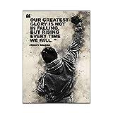 JLFDHR Carteles e Impresiones de Lienzo de Boxeo Rocky en Blanco y Negro, Carteles de motivación, Arte de Pared para decoración de Dormitorio, 60x90cmx1 sin Marco