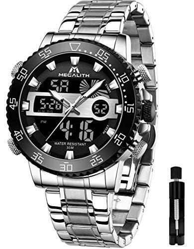 MEGALITH Relojes Hombre Reloj Militar Digital Deportivos Cronógrafo Acero Inoxidable LED Impermeable Reloj De Pulsera Grandes Marcar Relojes Analógicos Digitales Negro Plata