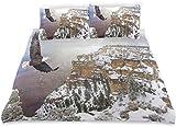 Juego de Funda nórdica American Bald Eagle Landscape Print Juego de Cama Decorativo de 3 Piezas con 2 Fundas de Almohada