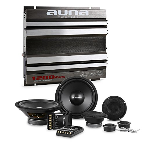 Auna CS-Comp-8 Set Set Impianto HiFi per Auto Amplificatore A 2 Canali e 6 Casse (Ampli 1200 Watt Max, Ponticellabile, 2 x subwoofer da 1200 Watt,2 x midrange da 1200 Watt)