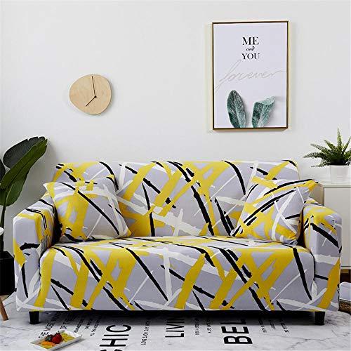 ZLLBF Fundas Sofa Elasticas Chaise Longue,Extraíbles Y Lavables,Moderno Cubre Sofa Universal Fundas Protectora para Sofa contra Polvo En Forma De L 1 Piezas(Graffiti De Línea Amarilla,4Plazas)